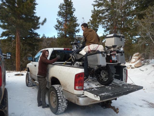 In Big Bear, loading the bike into Jake's truck