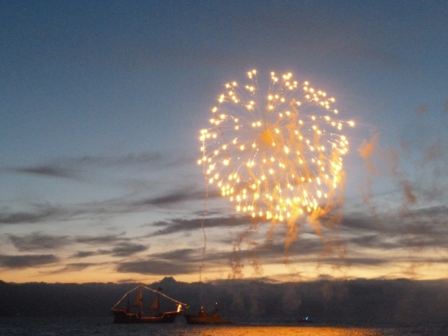 Fireworks celebrating the reopening of the wharf