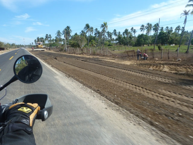 Road work - the difference between road and dirt is a good 8 inches or more! Quite terrifying!
