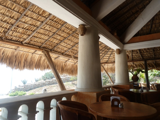 Palapa over the restaurant at Santa Fe Hotel