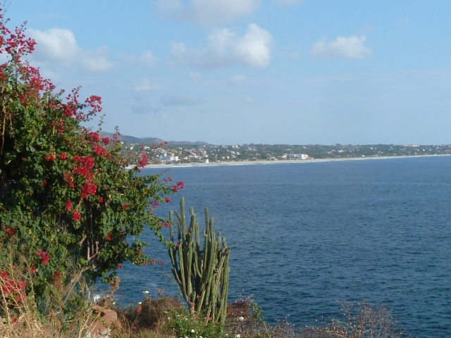 View toward our hotel on Zicatela beach from the lighthouse walk