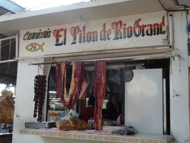 meat stall in the mercado