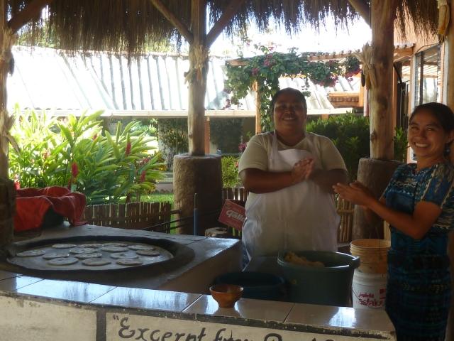 Lake Atitlan - making tortillas at the hotel restaurant