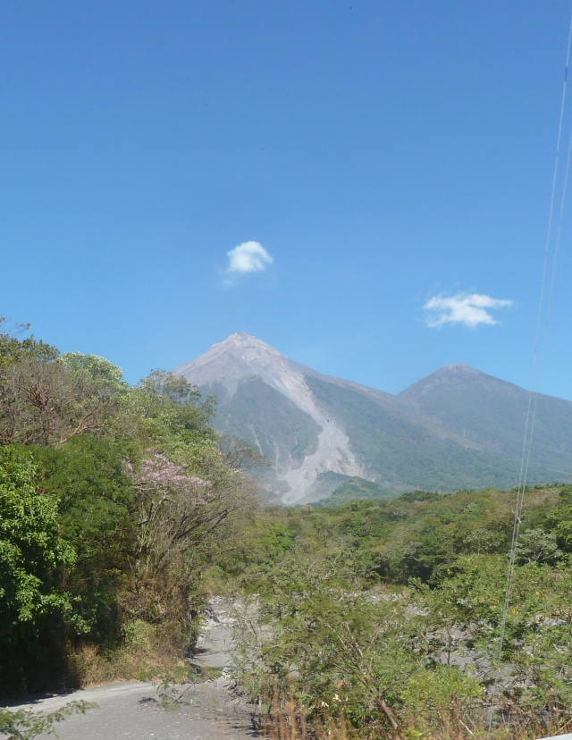 Pacaya - active volcano in Guatemala.  You can see the lava run down the face of the volcano