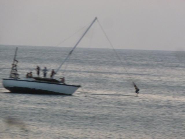 the jumping-off boat, West End, Roatan, Honduras
