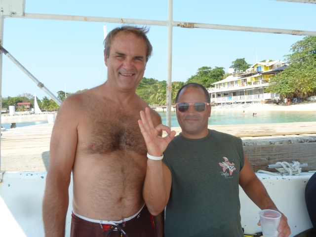 Scott and Marcos, dive instructor, Roatan, Honduras