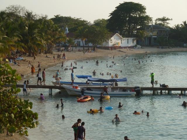 Sunday crowds, Roatan, Honduras