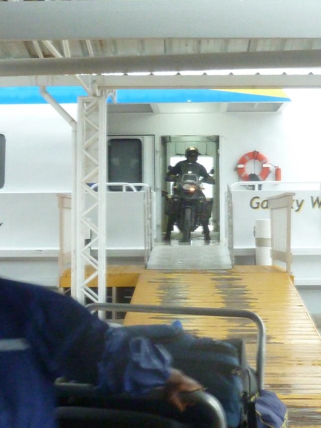 Scott disembarking from the ferry