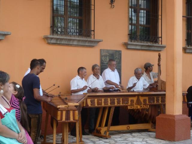 Musicians in the square, Copan Ruinas, Honduras
