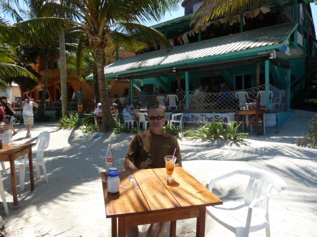 Eating at Estel's, Ambergris Caye, Belize