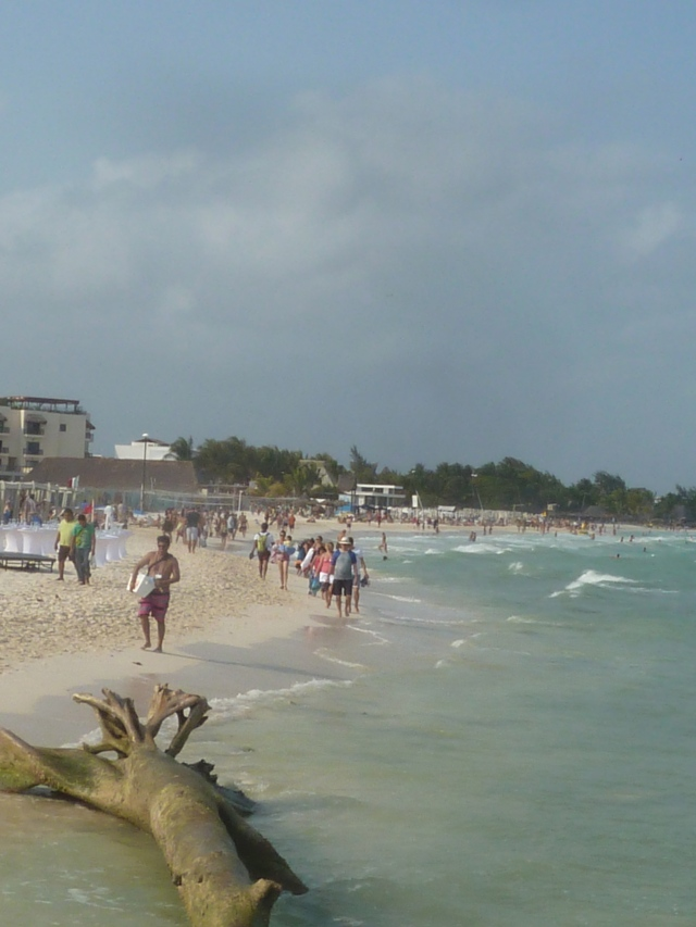 The crowds at Playa del Carmen