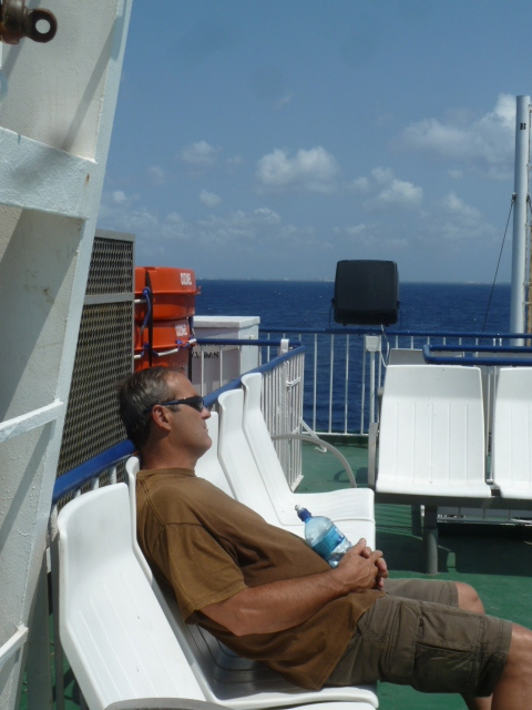 On the ferry to Cozumel