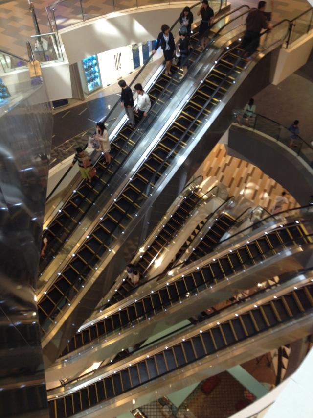 escalators at the mall, Chiang Mai