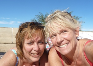Jill and Vickie enjoying the sun (and the wind!)